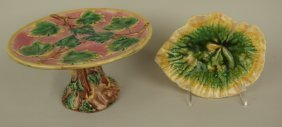 Etruscan Majolica Maple Leaf Cake Stand And Begonia