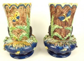 French Palissy Majolica Pair Of Vases With Alligators,
