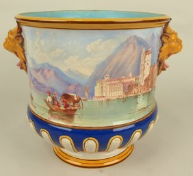 Minton Majolica Rare Wine Cooler With Painted Scenes