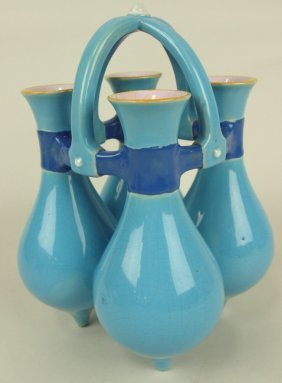 Minton Majolica 4 Part Amphora Posey Holder, 9""
