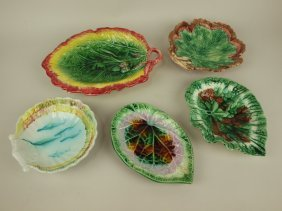 Majolica Lot Of 5 Trays, Various Conditions