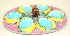 Brownfield Majolica Oval Egg Tray With Wheat, Nice