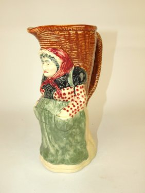"French Majolica ""old Maid"" Figural Pitcher, 9"""