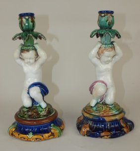 """Majolica Pair Of Figural Candlesticks With Puttis, 10"""","""