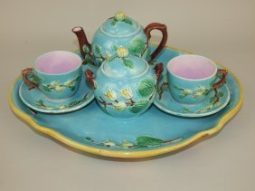 Majolica Partial Teaset: Turquoise Floral Tray, Teapot,