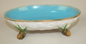 George Jones Majolica Oval Basket Weave Bowl With