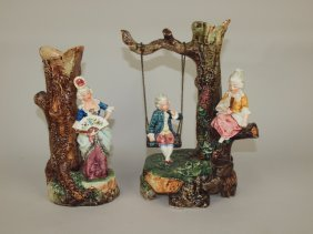 Continental Majolica Pair Of Figural Vases, One Of Lady