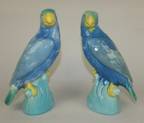 "Minton Majolica Pair Of Parrots, 8"""