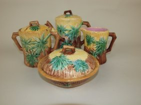 Etruscan Majolica Bamboo 3 Piece Teaset And Butter