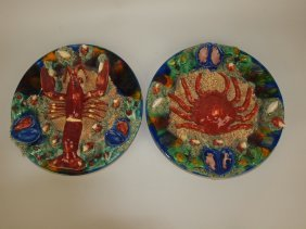 "Contemporary Pair Of 11 1/2"" Palissy Style Plates"