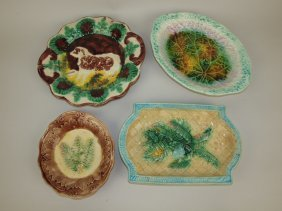 Majolica Lot Of 4 Trays And Platters, Various