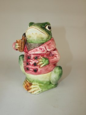 Majolica Figural Humidor Of Frog With Pipe And Red