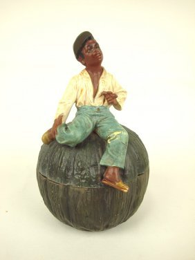 Terra Cotta Blackamoor Man On Melon Figural R Humidor,