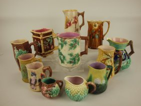 Majolica Lot Of 12 Pitchers And Creamers, Various