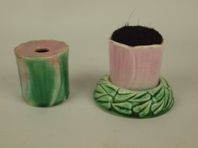 Majolica Pen Holder And Pen Wipe, Attributed To