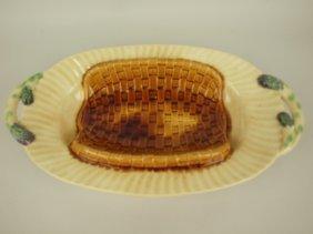 """French Majolica Asparagus Platter, 17"""""""