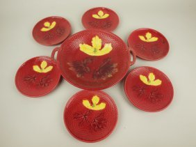 German Majolica 7 Piece Dessert Set