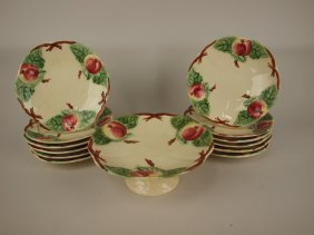 Choisy Le Roi French Majolica 13 Piece Dessert Set With