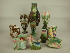 Majolica Lot Of 13 Assorted Vases, Various Conditions