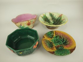Majolica Lot Of 4 Bowls & Copotes, Various Conditions