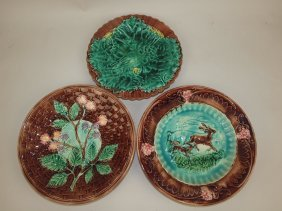 Majolica Lot Of 3 Plates