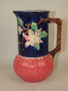 """Majolica Rustic Pitcher With Unusual Color, 8"""""""