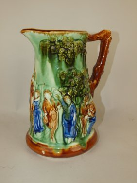 """Majolica French Scenic Pitcher, 9"""", Nick To Base"""