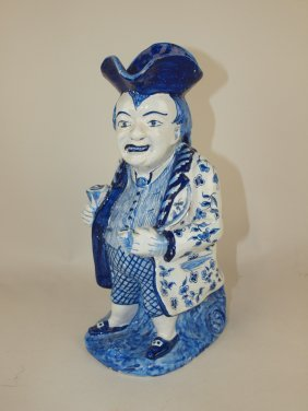 French Faience Blue And White Toby Jug, 11""