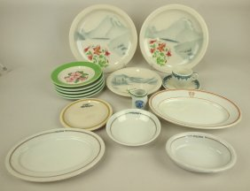 Railroad Dining Car Chian Lot Of 16 Assorted Pieces: