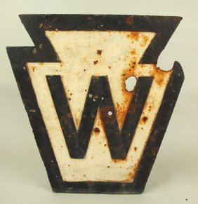 "Cast Iron Railroad Track Sign ""w"", 16""h, 15""w Some"