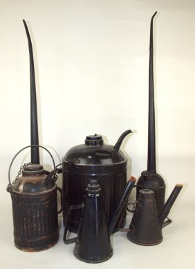 Railroad Lot Of 6 Cans Oil, Kerosene, & Torch Lamp