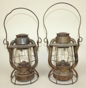 Pair Of Dietz Vesta Railroad Lanterns With Tall Clear