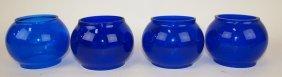 Four Short Cobalt Blue Railroad Lantern Globes