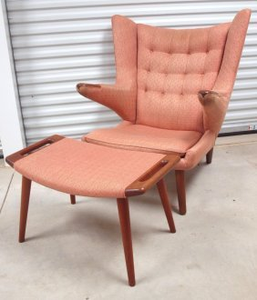 "Hans Wegner ""papa Bear"" Midcentury Modern Chair And"
