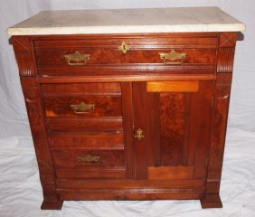 Walnut Marble Top Commode