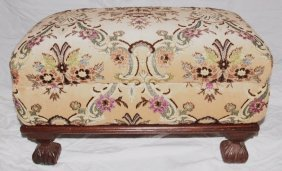 Upholstered Ottoman With Wooden Base, Top Lifts Off For