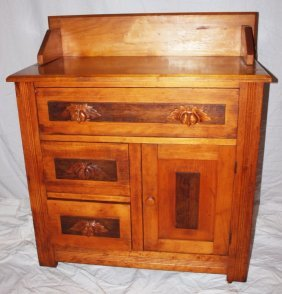 Maple Commode With Carved Pulls