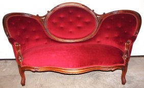 Walnut Victorian Parlor Set With Settee, Gentleman's