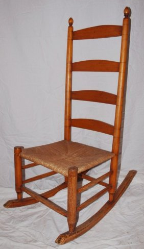 Shaker Style Rush Seat Ladder Back Rocker