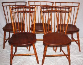 Windsor Bird Cage Style Set Of 5 Chairs