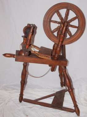 Spinning Wheel And 2 Wool Brushes