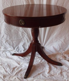 Duncan Phyfe Drum Top Lamp Table With Drawer