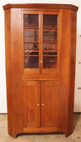 Very Early Primitive One Piece Corner Cupboard With