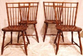 Set Of 4 Maple Windsor Style Birdcage Dining Chairs