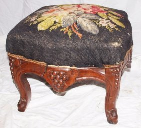 Victorian Footstool With Needlepoint Top