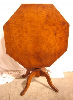 Important Early Tiger Maple Tilt Top Table, Octagon