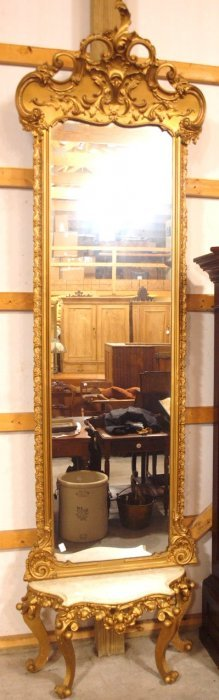 """Elegant Gilted Pier Mirror With Marble Shelf, 125""""h,"""
