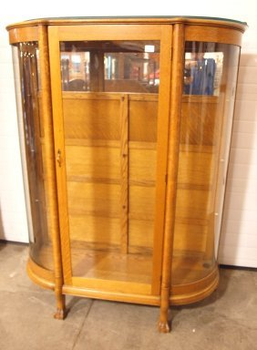 Oak Curved Glass China Cabinet With Glass Shelves, Ball