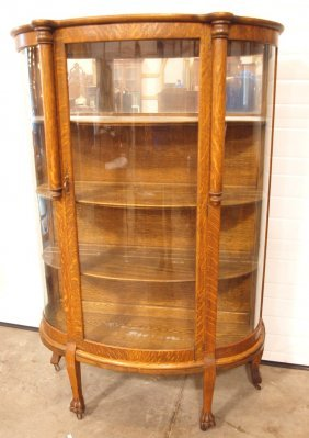 Oak Triple Curved Glass China Cabinet With Claw Feet,