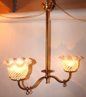 Brass 2 Light Hanging Lamp With Opalescent Swirl Shades
